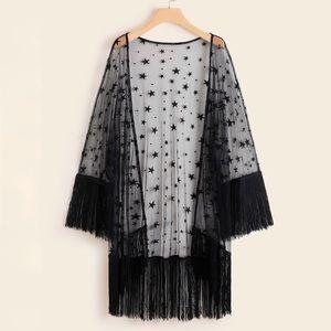 Fringe Hem Sheer Star Kimono NWT